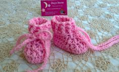 Crochet Baby Boots  Candy Pink  0 to 5 months by Dory1963 on Etsy, $6.50