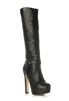 SARIKA - Get an instant pick-me-up from this luscious knee-high. Fashioned from rich and glossy material, it boasts a buckle detail, platform and tall, slightly chunky heel.. Price $39.95