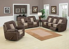 CARSON Game night is a go with Carson, the plump, two toned living room set built for ultimate rest and relaxation. Soft chocolate reconstituted leather is highlighted nicely by a soft stone colored inset along the seats and is trimmed with subtle contrast stitching along the back rest, double arms, and reclining footrests. The sofa and loveseat feature dual manual recliners, and the loveseat also includes a storage console and cup holders. The matching recliner chair also includes a manual…