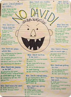 "Used the book ""No David"" to practice making inferences (good guesses) about what was happening.  Before reading, looked at each picture, wrote down a guess and added a blurb about the picture clue they used to make it."