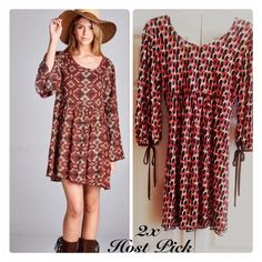"New • Directions • Boho • Style • Dress Cute print dress in brown, orange and white! Has 3/4 key hole sleeves with ties on the ends. This dress may also be worn as a long top.  Stock pic is not the same dress, just shown for example look.  🔶Brand • New Directions.  🔶Size • Small.  🔶Chest • underarm across 17"".  🔶Length • 33"".  🔶Fabric • 94% polyester, 6% spandex.  🔶Condition • In excellent condition.    ✨Host Pick for ""Wardrobe Staples"" Party 9/28/15 by ""lorilouie"" and for ""Girly Girl""…"
