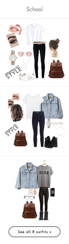 """""""School"""" by misstoffyy on Polyvore featuring Levi's, adidas Originals, CLUSE, Valentino, Ray-Ban, Gap, Timberland, M&Co, Forever 21 and H&M"""