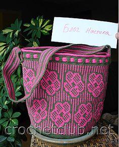 вязаная сумка розовая элегантность