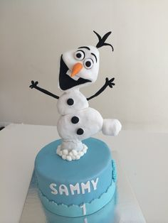 Olaf cake made with rice cereal treats!