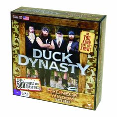 Duck Dynasty Redneck Wisdom Board Game by Duck Dynasty Price:$19.48 & FREE Shipping on orders... https://www.amazon.com/dp/B00BXJQ9QQ?tag=howtobuild005-20&camp=0&creative=0&linkCode=as4&creativeASIN=B00BXJQ9QQ&adid=1ZQB367YVPN4B3539777&
