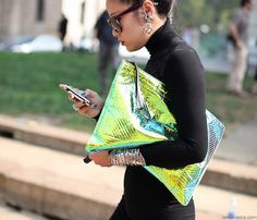 XXL iridescent clutch on the streets of Milan, Lee Oliveira