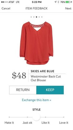 Skies are Blue Westminster Back Cut Out Blouse