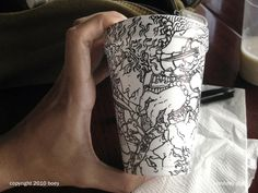Drawings on Styrofoam Cups by Cheeming Boey