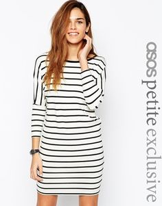 ASOS+PETITE+T-Shirt+Dress+with+3/4+Sleeves+in+Stripe