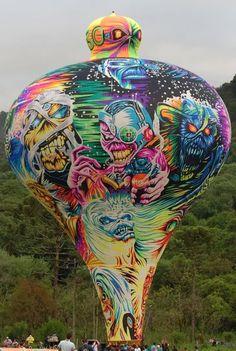 Iron Maiden, Albuquerque Balloon Festival, Hot Air Balloon, Foto E Video, Christmas Bulbs, Balloons, Sky, Rock, Metal