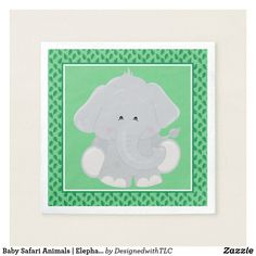 Baby Safari Animals | Elephant Napkin  sc 1 st  Pinterest : elephant paper plates and napkins - pezcame.com