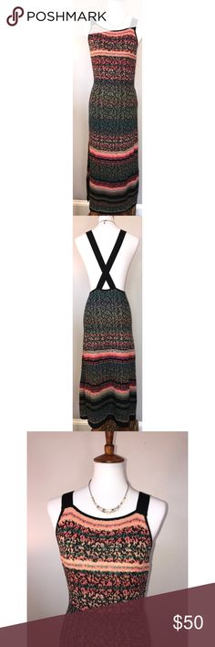 """Free People $50 NWT Size M Split Hem Dress Details Vibrant intarsia knitting colors a bohemian-chic dress styled with dropped armholes, crisscrossing straps in back and a thigh-high split hem. - Crew neck - Sleeveless - Slips on over head - Unlined - Approx. 55"""" length - Imported Fiber Content 61% cotton, 22% rayon, 15% acrylic, 2% nylon Care Hand wash cold, dry flat Free People Dresses Maxi"""