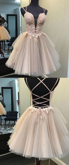 Ball Gown Blush Short Homecoming Dress - straps short homecoming dress blush, lace up back blush homecoming dress Source by dreamdressyoffical - Homecoming Dresses Straps, Short Graduation Dresses, Cute Prom Dresses, Event Dresses, Ball Dresses, Pretty Dresses, Ball Gowns, Quinceanera Dresses Short, Homecoming Outfits