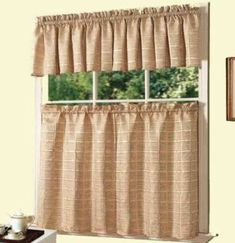 Shop for Dainty Home Jeanette Kitchen Window Curtain Set of Get free delivery On EVERYTHING* Overstock - Your Online Home Decor Outlet Store! Kitchen Window Curtains, Kitchen Curtain Sets, Kitchen Valances, Cafe Curtains, Country Kitchen Curtains, Window Valances, Window Blinds, Gingham Curtains, Tier Curtains