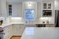 Kitchen remodel, white kitchen, London Grey Caesarstone