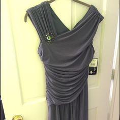 Dress Gunmetal color knee length dress with strap detail zipper back woman's size 12. Dresses