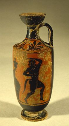 Lekythos with Dancing Satyr, early 5th century BCE