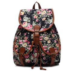 Leisure Women s Backpack With Buckles and Tiny Flower Design