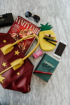 What's in your bag flat lay • Stella McCartney Tote #smartlife