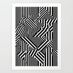 Dazzle Camo #01 - Black & White Art Print by Largetosti - $17.00
