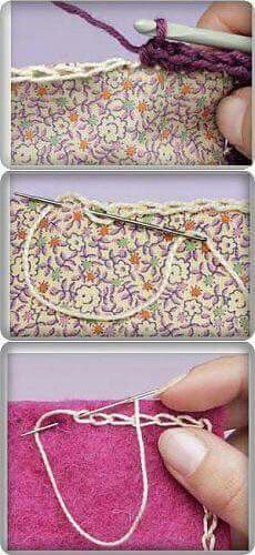 If you looking for a great border for either your crochet or knitting project, check this interesting pattern out. When you see the tutorial you will see that you will use both the knitting needle and crochet hook to work on the the wavy border. Crochet Diy, Crochet Motifs, Crochet Quilt, Crochet Borders, Crochet Crafts, Crochet Stitches, Crochet Projects, Sewing Projects, Embroidery Stitches