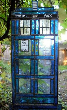 Two favourite things as one, the TARDIS in stained glass. Lovely.