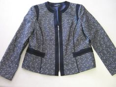 Womens Jacket 12 Jones New York Blue Silver Career LS Long Sleeve