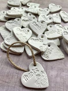 Clay Thank You Tags for gifts - Etsy seller packaging - Clay Heart mini Ornamen. , Clay Thank You Tags for gifts - Etsy seller packaging - Clay Heart mini Ornament Tags - Thank you Tags - Wedding favors - bridal shower , Clay Projects, Clay Crafts, Gag Gifts, Craft Gifts, Party Gifts, Wedding Favor Tags, Diy Wedding Favors, Wedding Thank You Gifts, Thank You Tags For Favors