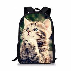 92a891d581d3 FORUDESIGNS Cute Cat Print Children School Bags