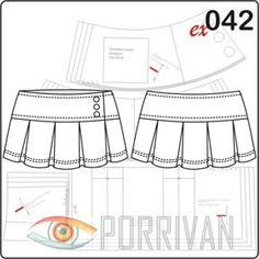 Выкройка юбки на кокетке построена специально для девушек и молодых женщин. Длина этой модели всего около 30 см (для всех размеров разная), то есть это нас