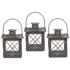 Set of Three Small 'Farol' Garden Lanterns in Charcoal Grey Metal