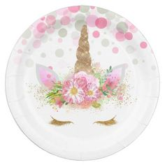 Unicorn Face Paper Plates