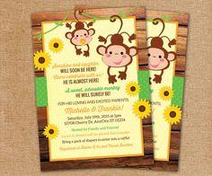 Monkey Invitation Sunflower Monkey Baby by LittleBeesGraphics, $12.99
