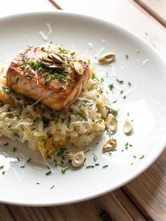 {recipe in Finnish} Salmon with pumpkin risotto.