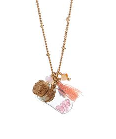 This Pink & Goldtone Jar & Tassel Pendant Necklace is perfect! #zulilyfinds