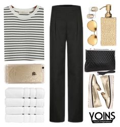 """""""YOINS -STRIPE SHIRT WE LOVE"""" by yoinscollection ❤ liked on Polyvore featuring Chicnova Fashion, Linda Farrow, Rifle Paper Co, Christy, Pigeon & Poodle, Beats by Dr. Dre, Fall and yoins"""