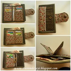 Cartera de tela Denim Bag Tutorial, Wallet Tutorial, Sew Wallet, Fabric Wallet, Handmade Wallets, Handmade Bags, Diy Bags Patterns, Wallet Sewing Pattern, Diy Bags Purses
