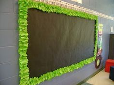 Scrunchy Bulletin Board Trim - Butcher paper cut into strips, according folded and scrunched on the trim