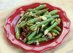Green Beans with Almonds and Bacon. Update: I tried this on 7/18/2012 minus the bacon and it was very good! Only I steamed the green beans until al dente instead of boiling them....yummy! :)
