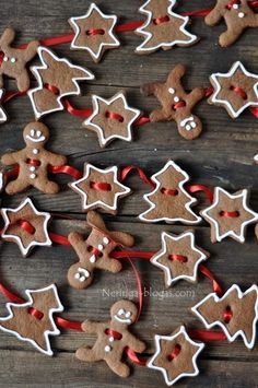 Gingerbread garland.  For our edible tree, perhaps as ornaments instead (can't eat the ribbon after all!)