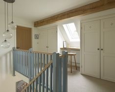 An enlarged version of the original Pearmain Cottage, this property was design very much with the clients' individual needs in mind - to accommodate an office and annex - on a fabulous plot. Winner of the Build It 2018 Award for Best Oak Frame Home Cottage Staircase, Cottage Hallway, Interior Staircase, Staircase Design, Cottage House, Bungalow Loft Conversion, Loft Conversion Stairs, Barn Conversion Interiors, Loft Conversion Wardrobes