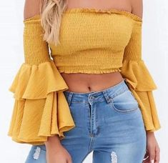 BerryGo Sexy off shoulder solid crop tops ruffles backless Butterfly sleeve blouse shirt femme streetwear Elastic beach blusas - TakoFashion - Women's Clothing & Fashion online shop Outfit Ideas For Teen Girls, Outfits For Teens, Trendy Outfits, Mode Outfits, Fashion Outfits, Womens Fashion, Fashion Pants, Fashion Trends, Vetement Fashion