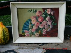 Vintage Hand Painted Framed Flowers Signed Shabby by thebedpost02