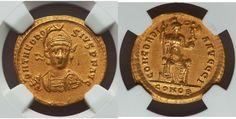 Theodosius II, Eastern Roman Emperor (AD 402-450). AV solidus NGC AU 4/5 - 3/5. - Gold Coins - Coins Roman Emperor, Rare Coins, Gold Coins