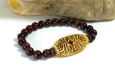 Mens Carved Bone and Tiger Eye Bracelet by GemstonesOnMyMind