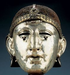 Roman silver helmet with facemask, from Homs (ancient Edessa), 1st century CE, National Museum of Syria, Damascus.