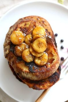 Vegan Banana French Toast. Vegan French Toast with Caramelized bananas. Banana and non dairy milk make up the french toast batter. Cooked French toast is served with caramelized Bananas, maple and vegan butter. Vegan Nut-free Recipe.