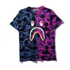 0ca482da BAPE A BATHING APE Camo T-shirt Crew Neck Shark Head T Shirt Tops Mens