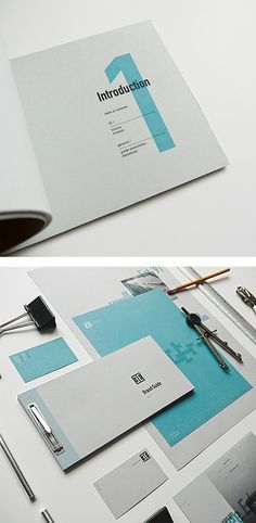 """The booklet on the top has a very well designed cover page. It has, in normal font, a bold-faced """"Introduction"""" and info underneath it. What I like about it is the cyan see-through number one. It goes with the standard font and it adds interest in a simple way to something that would otherwise be quite boring."""
