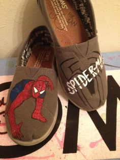 Spiderman Custom youth toms by CustomTOMSbyJC on Etsy, $70.00, for my nephew who is obsessed with super heros:)
